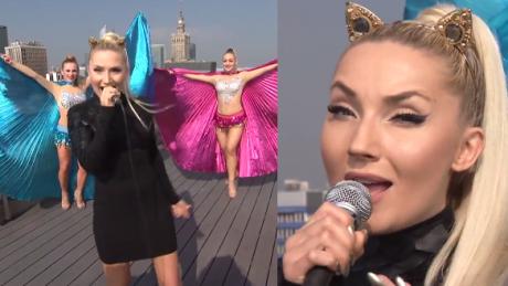 Cleo z uszami kota śpiewa na dachu Dzień Dobry TVN