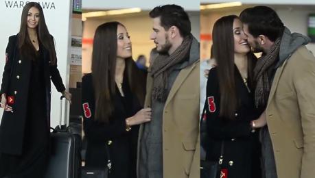 Miss Polonia żegna się z chłopakiem na lotnisku