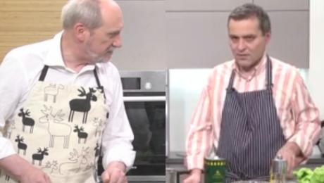 Macierewicz gotuje w telewizji i mówi o Smoleńsku