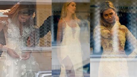 Uradowana Kubicka przymierza suknie ślubne w butiku Paprocki Brzozowski