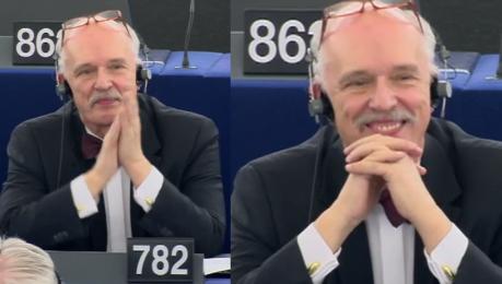 Tak Korwin Mikke cieszył się kary w Parlamencie Europejskim Uśmiechał się szeroko i klaskał sobie …