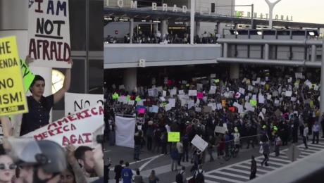 Protest na lotnisku w Los Angeles przeciwko dekretowi Trumpa
