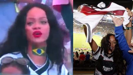Rihanna bawi się na trybunach mundialu ZOBACZCIE