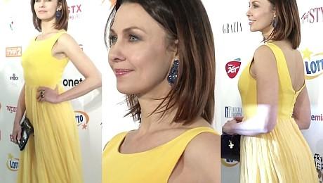 Anna Popek w żółtej sukni na Fryderykach