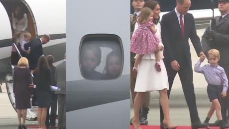 Kate i William z dziećmi na lotnisku w Warszawie