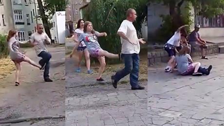 Dzieci biją pijanego na ulicy Wyp***dalaj stąd