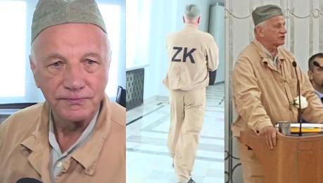 Rulewski z PO przyszedł do Senatu w więziennym pasiaku Kraj zamienia się w zakład karny