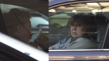 Daniel Olbrychski z żoną w samochodzie