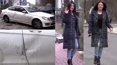 Rozbity Mercedes Węgrowskiej