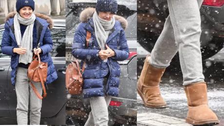 Ciężarna Socha w butach EMU przebija się przez śnieżycę