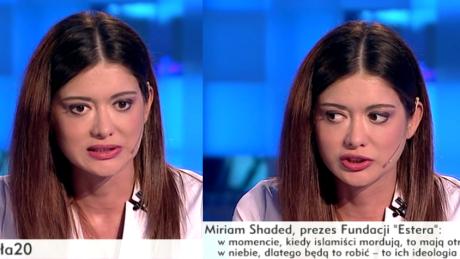 Miriam Shaded apeluje w TVP Info Nie wpuszczać imigrantów do Europy karać i deportować Nie możemy dawać przywilejów muzułmanom