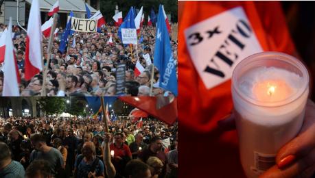 Tak wyglądał protest w Warszawie 50 TYSIĘCY OSÓB żądało weta od Andrzeja Dudy WIDEO