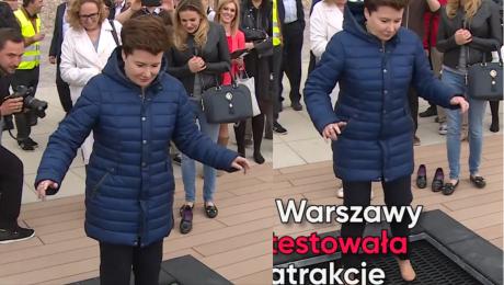 Hanna Gronkiewicz Waltz zdejmuje buty… i skacze na trampolinie WIDEO